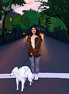 A young woman and dog pose on the street at twilight.