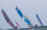 The Seven Star Triple Crown as part of Lendy Cowes week 2017. The Volvo Ocean Race fleet pictured here racing around the Isle of Wight in a race that has been nick named 'LegZero'.<br /> Credit Lloyd Images