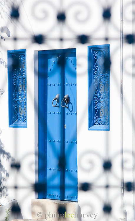 Typical blue and white colouring on doors and windows in Sidi Bou Said, Tunisia