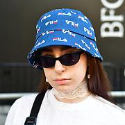 Eman Rostrum @lemondinary attend London Fashion Week SS19 street photography at the Strand, London, UK. 17 September 2018.