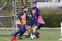 (L-R), Amin Younes of Ajax, Siem de Jong of Ajax, Hakim Ziyech of Ajax during a training session of Ajax Amsterdam at the Cascada Resort on January 10, 2018 in Lagos, Portugal