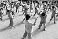 Inmates at Wakayama Women's Prison during samba exercises.