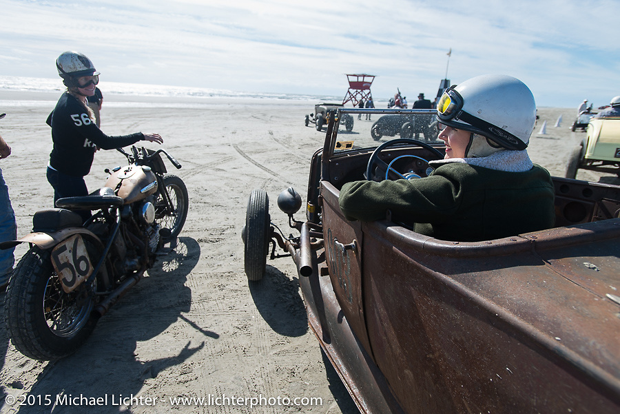 Jen Sheets with her 1947 Harley-Davidson Knucklehead racer beside Lisa English in her 1929 Ford Roadster at the Race of Gentlemen. Wildwood, NJ, USA. October 10, 2015.  Photography ©2015 Michael Lichter.