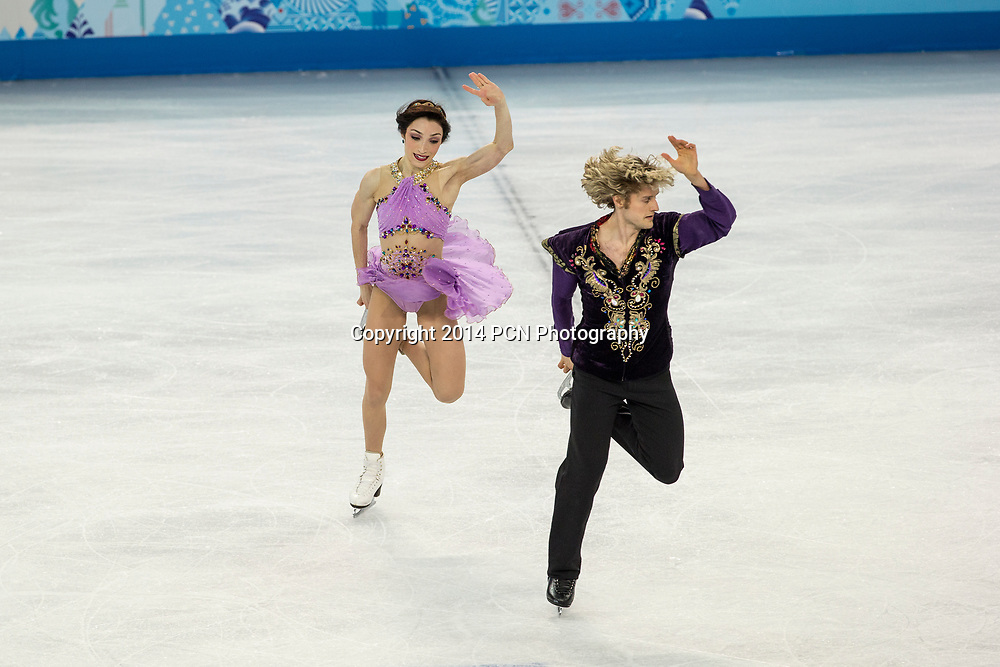 Meryl Davis and Charlie White (USA) performing in the free dnace to win the first ever gold medal for the USA in Ice Dance at the Olympic Winter Games, Sochi, Russia 2014