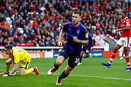 Luton Town forward James Collins (19) attempt is ruled out for offside during the EFL Sky Bet League 1 match between Barnsley and Luton Town at Oakwell, Barnsley, England on 13 October 2018.