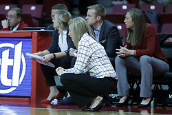 01 November 2017: Kristen Gillespie and her staff during a Exhibition College Women's Basketball game between Illinois State University Redbirds the Red Devils of Eureka College at Redbird Arena in Normal Illinois.