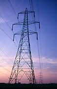 AJDN34 Electricity pylon against evening dusk sky