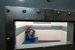Prisoner in a cell in Middlesbough police station
