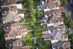 Back gardens and houses as seen from above during a mass hot air balloon launch from Clifton Downs to mark less than a week to go until the start of the Bristol International Balloon Fiesta.