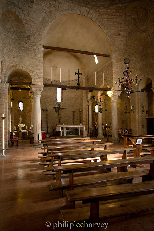Interior of The Cathedral of Santa Maria Assunta (Cattedrale di Santa Maria Assunta), Island of Torcello, Venice, Italy, Europe