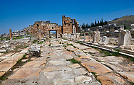 Picture of The north  gate forms part of a fortification system built at Hierapolis in late 4th century Theodosian times. Hierapolis archaeological site near Pamukkale in Turkey. .<br /> <br /> If you prefer to buy from our ALAMY PHOTO LIBRARY  Collection visit : https://www.alamy.com/portfolio/paul-williams-funkystock/pamukkale-hierapolis-turkey.html<br /> <br /> Visit our TURKEY PHOTO COLLECTIONS for more photos to download or buy as wall art prints https://funkystock.photoshelter.com/gallery-collection/3f-Pictures-of-Turkey-Turkey-Photos-Images-Fotos/C0000U.hJWkZxAbg .<br /> <br /> If you prefer to buy from our ALAMY PHOTO LIBRARY  Collection visit : https://www.alamy.com/portfolio/paul-williams-funkystock/pamukkale-hierapolis-turkey.html<br /> <br /> Visit our TURKEY PHOTO COLLECTIONS for more photos to download or buy as wall art prints https://funkystock.photoshelter.com/gallery-collection/3f-Pictures-of-Turkey-Turkey-Photos-Images-Fotos/C0000U.hJWkZxAbg