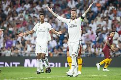 September 19, 2018 - Madrid, Spain - Real Madrid Raphael Varane and Sergio Ramos during UEFA Champions League match between Real Madrid and A.S.Roma at Santiago Bernabeu Stadium in Madrid, Spain. September 19, 2018. (Credit Image: © Coolmedia/NurPhoto/ZUMA Press)