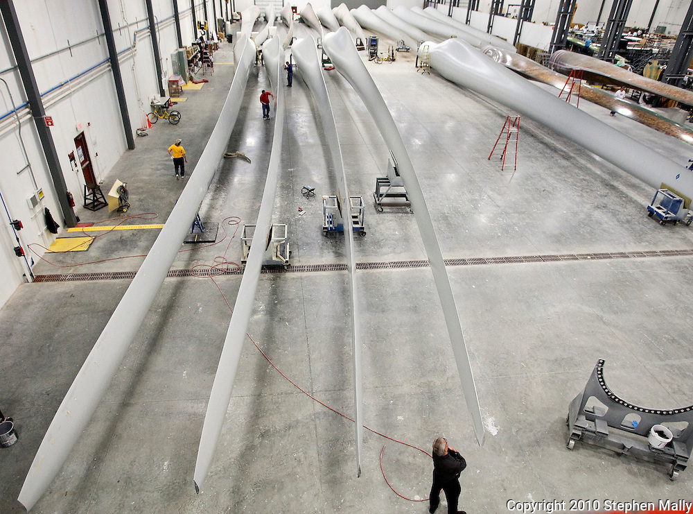 Finished wind turbine blade at TPI Composites in Newton, Iowa on February 12, 2010.
