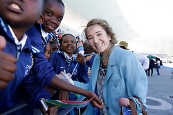 Monday 17th October 2016.<br /> Grand Parade & Greenpoint Athletics Stadium, Cape Town,<br /> Western Cape, South Africa.<br /> <br /> Cape Town Honours South African Olympic And Paralympic Heroes<br /> <br /> Paralympian Anruné Liebenberg smiles for the camera while signing autographs for school children at Greenpoint Athletics Stadium.<br /> <br /> Cape Town honours the South African Olympic and Paralympic heroes during a special celebratory event held in Cape Town, Western Cape, South Africa on Monday 17 October 2016.<br /> <br /> Picture By: Mark Wessels / Real Time Images.