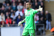 Victor Valdes, the Middlesbrough goalkeeper looks on. Premier league match, Swansea city v Middlesbrough at the Liberty Stadium in Swansea, South Wales on Sunday 2nd April 2017.<br /> pic by Andrew Orchard, Andrew Orchard sports photography.