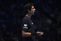 November 13, 2017 - London, England, United Kingdom - Marcelo Melo of Brazil in the Doubles match against Ivan Dodig of Croatia and Marcel Granollers of Spain during day two of the Nitto ATP World Tour Finals at O2 Arena, London on November 13, 2017. (Credit Image: © Alberto Pezzali/NurPhoto via ZUMA Press)