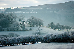 © Licensed to London News Pictures. 29/12/2014. Builth Wells, Powys, UK. After a cold night with temperatures dropping to minus 4 degrees Centigade, Mid Wales wakes up to a heavy frost.  Photo credit: Graham M. Lawrence/LNP