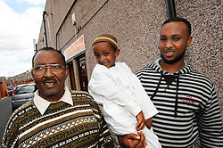 Three generations of refugee Somalian family; Lower Deane; Bolton, UK