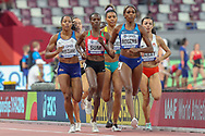 Shelayna Oskan-Clarke (Great Britain), Eunice Jepkoech Sum (Kenya), Morgan Mitchell (Australia), Raevyn Rogers (USA), Anna Sabat (Poland), Women's 800m Round 1, Heat 2, during the 2019 IAAF World Athletics Championships at Khalifa International Stadium, Doha, Qatar on 27 September 2019.