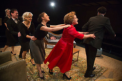 © Licensed to London News Pictures. 02/09/2015. London, UK. Conga with L-R: Diana Vickers, Kevin McGowan, Wendy Morgan, Vicky Binns, Wendi Peters and James Wrighton. World premiere of Hatched 'n' Dispatched, a black comedy set on one evening in 1959, opens at the Park Theatre in Finsbury Park. Written by Gemma Page & Michael Kirk, directed by Michael Kirk, the comedy stars Wendi Peters, Diana Vickers and Vicky Binns. Running from 1 to 26 September 2016. Photo credit : Bettina Strenske/LNP