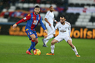 Yohan Cabaye of Crystal Palace holds off Leon Britton of Swansea city.  Barclays Premier league match, Swansea city v Crystal Palace at the Liberty Stadium in Swansea, South Wales on Saturday 6th February 2016.<br /> pic by Andrew Orchard, Andrew Orchard sports photography.