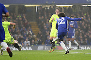 Willian of Chelsea shoots and scores his sides 3rd goal. The Emirates FA cup, 3rd round match, Chelsea v Peterborough Utd at Stamford Bridge in London on Sunday 8th January 2017.<br /> pic by John Patrick Fletcher, Andrew Orchard sports photography.