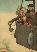 As there bullets got to their highest point, I reached out and caught them From the book Mr. Munchausen; being a true account of some of the recent adventures beyond the Styx of the late Hieronymus Carl Friedrich, sometime Baron Munchausen of Bodenwerder, as originally reported for the Sunday edition of the Gehenna Gazette by its special interviewer the late Mr. Ananias formerly of Jerusalem and now first transcribed from the columns of that journal. by Bangs, John Kendrick, (1862-1922) Published in Boston by Noyes, Platt & company 1901 with artwork by Peter Newell