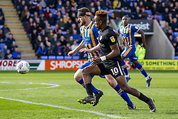 March 23, 2019 - Meadow, Shropshire, United Kingdom - Luke Waterfall of Shrewsbury Town battling for the ball with Jamal Lowe of Portsmouth FC during the Sky Bet League 1 match between Shrewsbury Town and Portsmouth at Greenhous Meadow, Shrewsbury on Saturday 23rd March 2019. (Credit Image: © Mi News/NurPhoto via ZUMA Press)