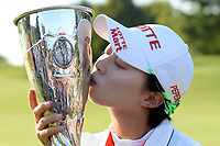 Hyo Joo Kim (Kor) kisses the trophy after her victory during the final round of LPGA Evian Championship 2014, day 7, at Evian Resort Golf Club, in Evian-Les-Bains, France, on September 14, 2014. Photo Philippe Millereau / KMSP / DPPI