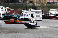 RNLI Royal National Lifeboat Institution E class lifeboat Hurley Burley E-07, Port of London Authority Launch/pilot cutter Benfleet, Emergency Services Exercise, Lambeth Reach River Thames, London UK, 23 October 2017, Photo by Richard Goldschmidt