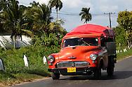 Old red truck in Pinar del Rio, Cuba.