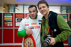 Slovenian Boxer Dejan Zavec alias Jan Zaveck alias Mr. Simpatikus and photographer Vid Ponikvar at open for public and press practice session before defending title of IBF World Champion, on April 6, 2010, in BTC City park, Ljubljana, Slovenia.  (Photo by Vid Ponikvar / Sportida)