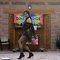 Té Diamond performs in front of the Navajo Nation Council Chambers as part of Diné Pride Saturday, June 19, in Window Rock.