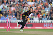 Lewis Gregory of Somerset bowling during the Vitality T20 Finals Day semi final 2018 match between Sussex Sharks and Somerset County Cricket Club at Edgbaston, Birmingham, United Kingdom on 15 September 2018.
