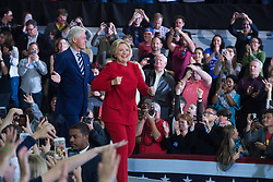 November 8, 2016 - Raleigh, United States - Democratic presidential nominee former Secretary of State Hillary Clinton and Bill Clinton during a campaign rally at North Carolina State University on November 8, 2016 in Raleigh North Carolina. With less than 24 hours until Election Day in the United States, Hillary Clinton is campaigning in Pennsylvania, Michigan and North Carolina. (Credit Image: © Zach D Roberts/NurPhoto via ZUMA Press)