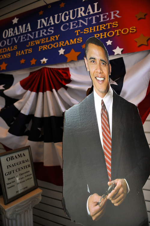 A cardboard cut out of President-elect Obama greets pedestrians from a window display in a Washington D.C. souvenir store just days before the Presidential Inauguration. Commemorative Barack Obama innauguration collectibles of all varieties are on display.  The Inauguration takes place January 20th, 2009, swearing in Obama as the nation's 44th president.