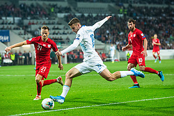 Domen Črnigoj of Slovenia and Tomasz Kędziora of Poland during the 2020 UEFA European Championships group G qualifying match between Slovenia and Poland at SRC Stozice on September 6, 2019 in Ljubljana, Slovenia. Photo by Grega Valancic / Sportida