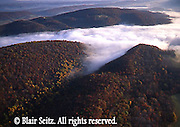 Southcentral Pennsylvania, Aerial Photographs, Perry County. PA, fall,  mountains, Juniata River under Fog