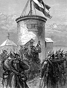 Franco-Prussian War: 1870-1871. Prussian troops hoisting the German standard at Valerien. Wood engraving .1880.