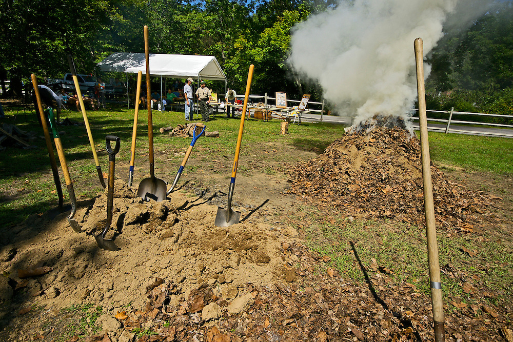 Greenwood Furnace State Park, Huntingdon Co., PA Charcoal Making Demonstration