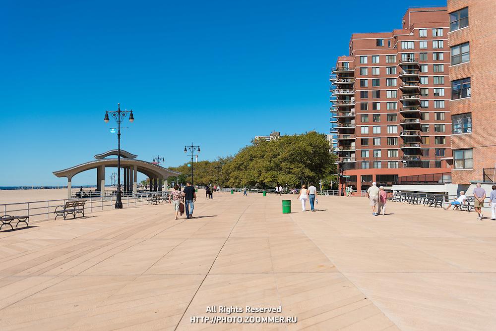 Coney island boardwalk near Atlantic ocean, Brooklyn, New york, USA