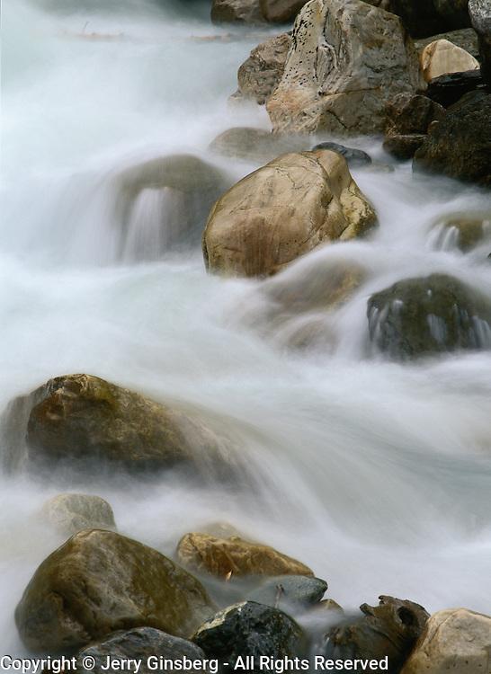 Rushing stream in Jasper National Park, Alberta, Canada.