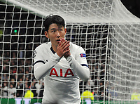 Football - 2019 / 2020 UEFA Champions League - Group B: Tottenham Hotspur vs. Red Star Belgrade<br /> <br /> Heung - Min Son of Tottenham salutes the fans as he comes off, at The Tottenham Hotspur Stadium.<br /> <br /> COLORSPORT/ANDREW COWIE