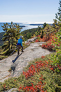 Mt. Sauveur Trail. Hike Acadia Mountain Trail (with loop option via Mt. Sauveur 2.5-4.5 mi RT/700-1300 ft gain) for good views of Somes Sound and typically peak fall colors in the second week of October, in Acadia National Park, Bar Harbor, Mount Desert Island, Maine, USA. Hike granite peaks and enjoy Atlantic coastal scenery. Originally created as Lafayette National Park in 1919, the oldest National Park east of the Mississippi River, it was renamed Acadia in 1929. During the last glacial maximum 21,000 years ago, glaciers measuring up to 9,000 feet thick cut into granite ridges, sculpting the fjord-like Somes Sound.