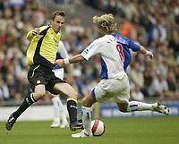 Photo: Aidan Ellis.<br /> Blackburn Rovers v Manchester City. The Barclays Premiership. 17/09/2006.<br /> City's Dietmar Hamann challenges Rovers Robbie Savage