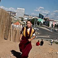 Mongolia. Ulaanbaatar. GANDAN BUDDHIST  monastery area  Ulanbaatar -     /  le quartier autour du monastere BOUDHISTE de Gandan  Oulan Bator - Mongolie