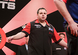 Adrian Lewis cele beating Raymond van Barneveld in the first match..2010 Whyte & MacKay Premier League Darts week nine, Glasgow SECC..©2010 Michael Schofield. All Rights Reserved.