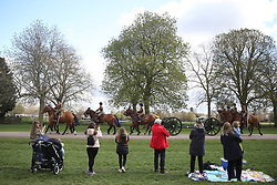 Members of the public watch as the King's Troop Royal Horse Artillery move up the Long Walk, Windsor Castle, Berkshire, during a rehearsal for the funeral of the Duke of Edinburgh. Picture date: Thursday April 15, 2021.