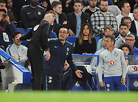 Football - 2018/ 2019 Premier League - Chelsea vs Burnley<br /> <br /> Chelsea Manager,Maurizio Sarri is told to leave the Field by the 4th official after being sent off the pitch by Referee, Kevin Friend at Stamford Bridge<br /> Gianfranco Zola (right)<br /> <br /> Colorsport  / Andrew Cowie