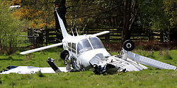 Tuesday 18th April 2017 Yateley,Hampshire Two people have walked away unharmed after the plane they were travelling in crashed in a field in Hampshire.<br /> Emergency services were called to the crash off Minley Road in Blackwater just before 17:30 on Monday afternoon.<br /> <br /> Police said the light aircraft was understood to have taken off from Blackbushe Airport when it ran into difficulties.<br /> <br /> Photos of the aftermath show the four-seater Piper Warrior's wings detached from the fuselage.<br /> <br /> The Air Accident Investigation Branch (AAIB) is investigating. The pane is owned by SASARABJIT SINGH BAMRAH who is understood to be a flying instructor  from Bromley in Kent©UKNIP